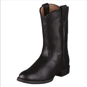 Ariat Black Heritage Leather Roper Boots 10.5 Men